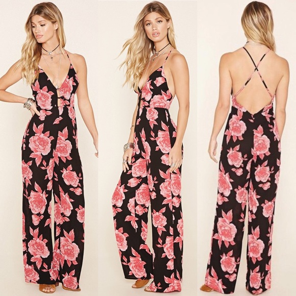 most desirable fashion variety design shades of NEW F21 Black Pink Floral Open Back Jumpsuit NWT